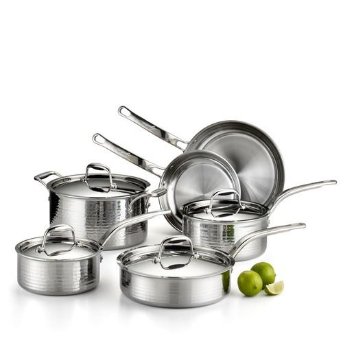 Martellata Tri-Ply Stainless Steel 10-Piece Cookware Set