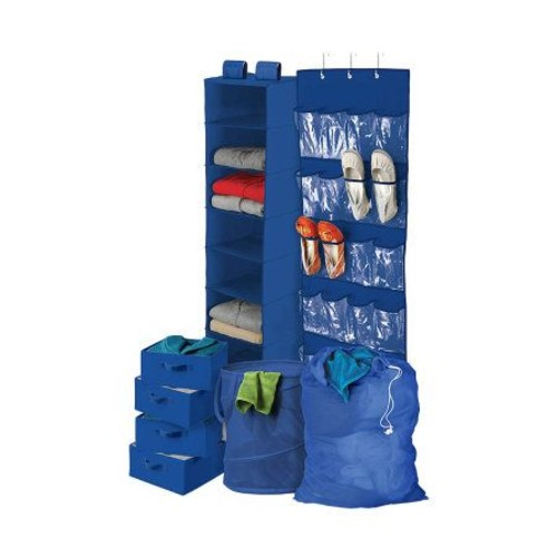 Honey-Can-Do 8-Piece Room and Laundry Organizer- Blue