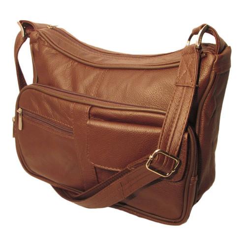 Genuine Top Grain Leather Concealed Carry Shoulder/ Messenger Bag CCW