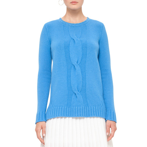 AKRIS PUNTO Cable-Knit Crewneck Sweater, Azure