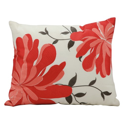 Mina Victory Green Flowers Outdoor Throw Pillow