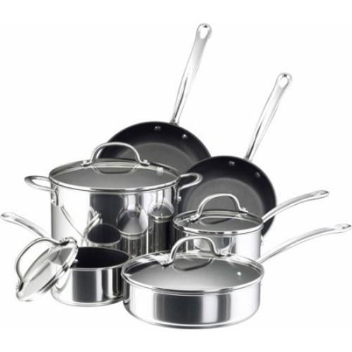 Farberware Millennium Stainless Steel Cookware 10-Piece Set, Stainless Steel