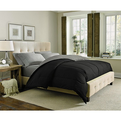 Cannon Solid Reversible Comforter - Black/Silver