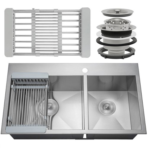 AKDY Handcrafted All-in-One Drop-In Stainless Steel 32 in. x 18 in. x 9 in. 60/40 Double Bowl Kitchen Sink w/ Tray and Drain