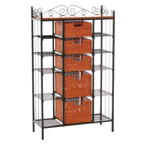 Southern Enterprises Manilla Steel 31-1/2 in. W Baker's Rack with 5-Drawers