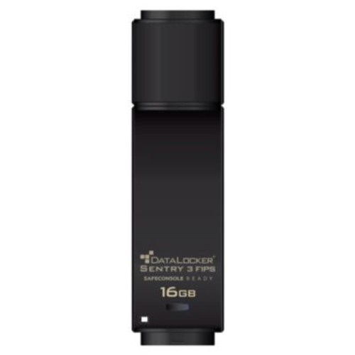DATA LOCKER Sentry 3 16GB USB 3.0 FIPS Encrypted Flash Drive, Black (SENTRY16F)