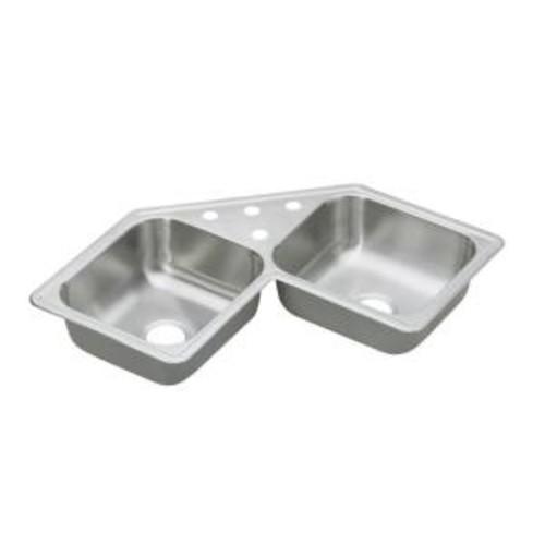Elkay Dayton Drop-In Stainless Steel 32 in. 4-Hole Double Bowl Kitchen Sink