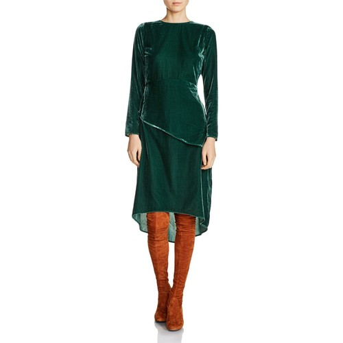 MAJE Remanio Waist-Overlay Velvet Midi Dress