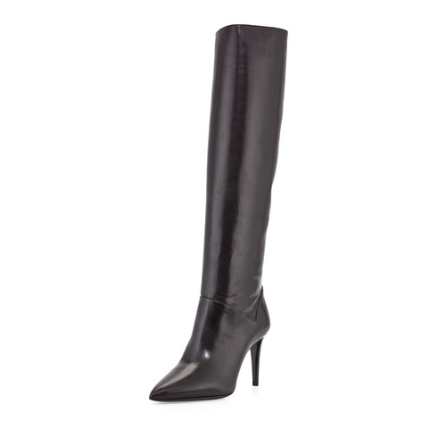 PRADA Leather Pointed-Toe Knee Boot
