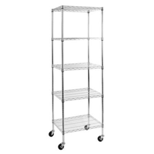 Seville Classics 5-Tier Steel Wire Shelving System with Wheels