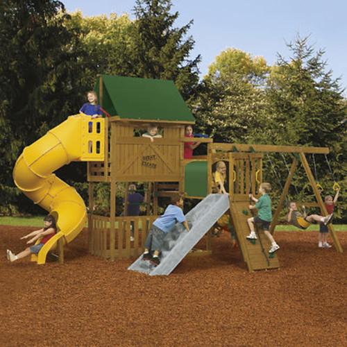 PlayStar Great Escape Factory Built Gold Swing Set