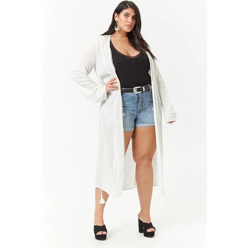 Plus Size Scalloped Open-Front Longline Cardigan