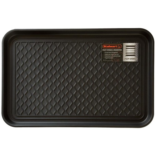 Stalwart Black 15 in. x 24 in. Eco-Friendly Polypropylene Utility Boot Tray Mat