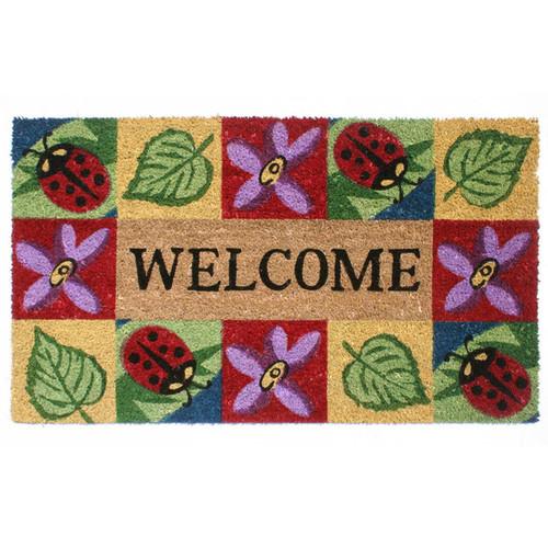SuperScraper Vinyl Coir Ladybug Welcome Doormat