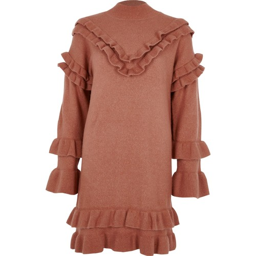 Pink frill turtle neck knitted dress