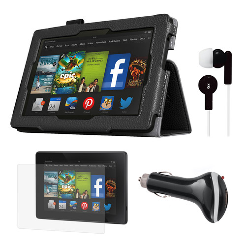 Mgear Accessories 97087772M Black Folio Case with Screen Protector, Earphones, and Car Charger for Kindle Fire HD 7