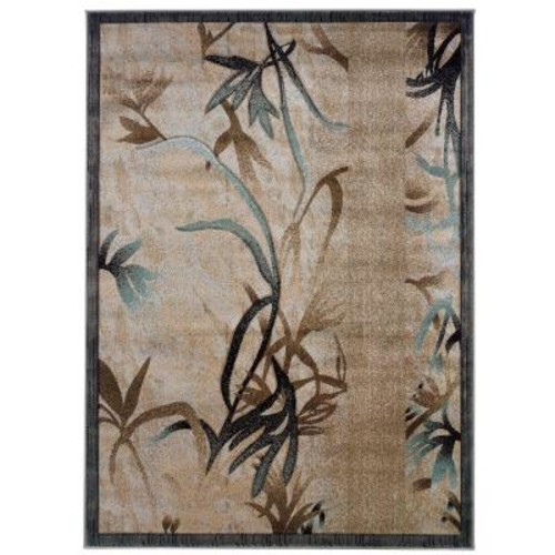 Linon Home Decor Milan Collection Beige and Aqua 5 ft. x 8 ft. Indoor Area Rug