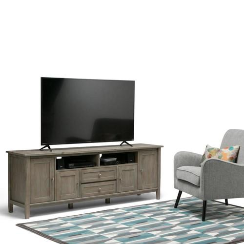 Simpli Home Warm Shaker Distressed Grey TV Media Stand