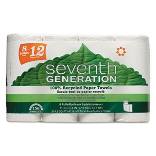 Seventh Generation 100% Recycled Paper Towel Rolls, 2-Ply, White, 156 Sheets/Roll, 8 Rolls/Pack