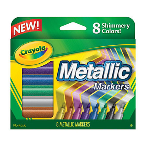 Crayola Metallic Markers, Bullet Point, Assorted Colors, Pack Of 8