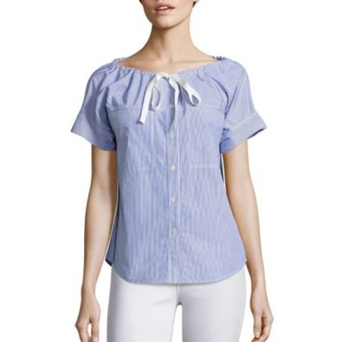 THEORY Velvela Striped Cotton Shirt