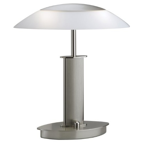 Holtkoetter 6244 PNSN SW Halogen Table Lamp, Polished Nickel/Satin Nickel with Satin White Glass