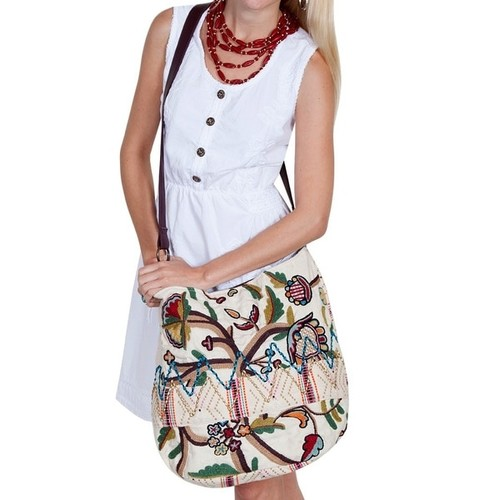Scully Handbag Womens Floral Embroidery One Size Multi-Color C37 - One size