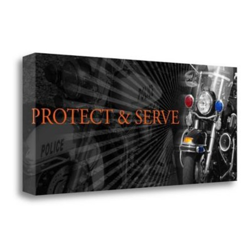 Tangletown Fine Art 'Protect and Serve' Graphic Art Print on Wrapped Canvas; 18'' H x 42'' W