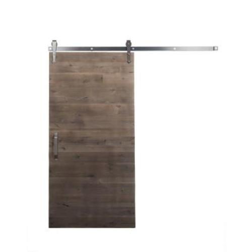Rustica Hardware 36 in. x 84 in. Rustica Reclaimed Home Depot Gray Wood Barn Door with Arrow Sliding Door Hardware Kit
