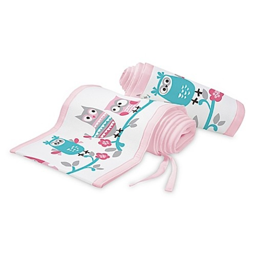 BreathableBaby Owl Fun Breathable Mesh Crib Liner in Pink