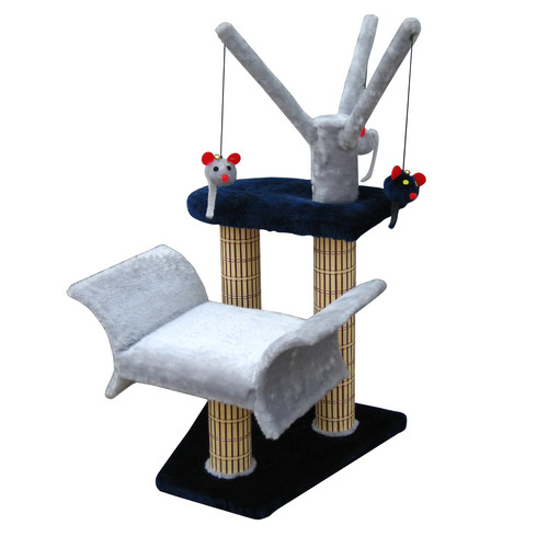 Cat Life Multi-Level Lounger with Play Tree & Bamboo