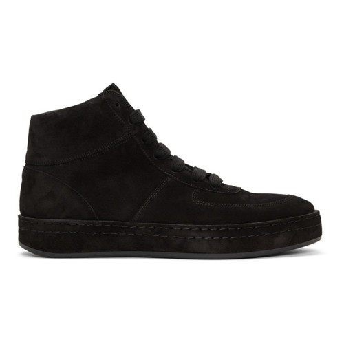 ANN DEMEULEMEESTER Black Suede High-Top Sneakers