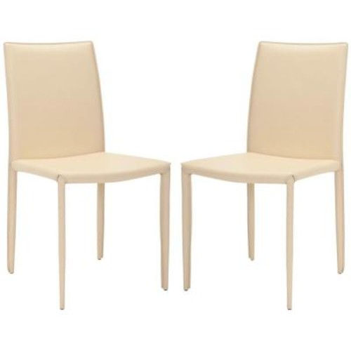 Safavieh Karna Cream Bonded Leather Dining Chair (Set of 2)