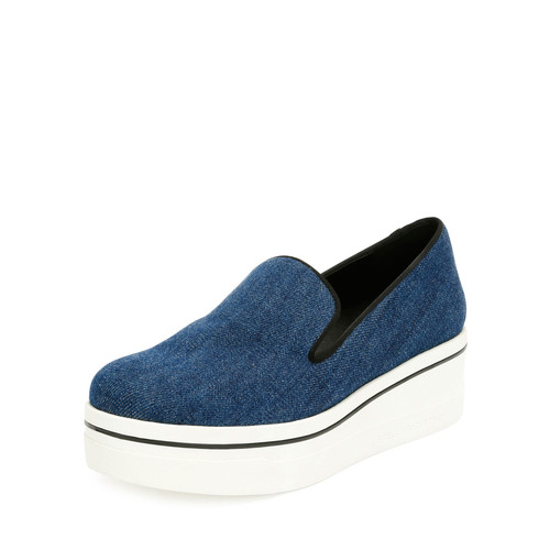 STELLA MCCARTNEY Denim Platform Slip-On Sneaker, Navy