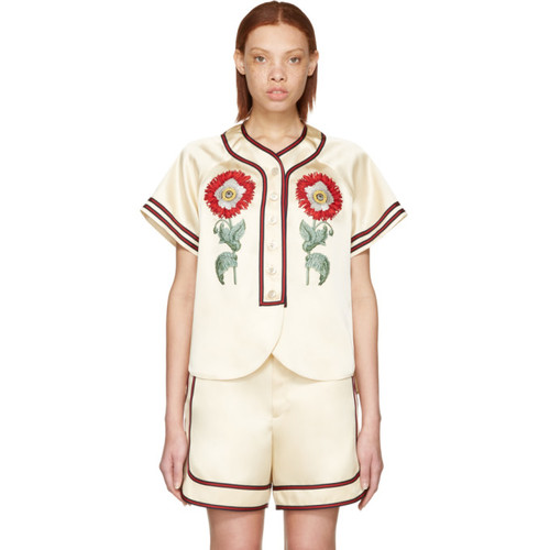 GUCCI Beige 'Loved' Embroidered Duchesse Shirt
