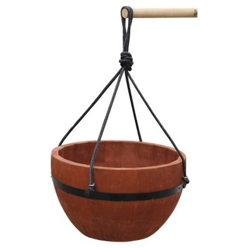 Convenience Deluxe Hanging Planter Basket Round Brown - 13.88\