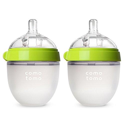 Comotomo Baby Bottle, Green, 5 Ounce, 2 Count [Green, 5 Ounce]