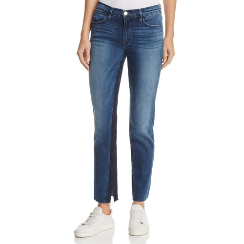 FRAME Le High Straight Contrast Inset Jeans In Elaine