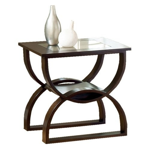 Steve Silver Dylan Rectangle Cherry Wood End Table with Glass Top