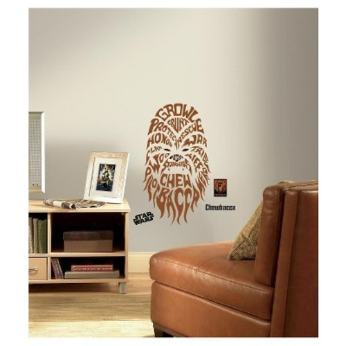 RoomMates 19 in. Multi Color Star Wars Typographic Chewbacca Peel and Stick Giant Wall Decals