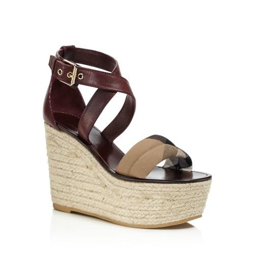 BURBERRY Arkinson Platform Wedge Sandals