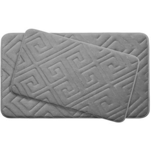 BounceComfort Caicos Light Gray 20 in. x 32 in. Memory Foam 2-Piece Bath Mat Set