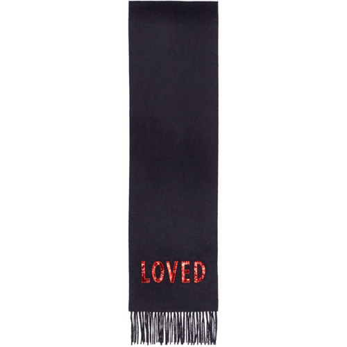 GUCCI Navy Cashmere 'Loved' Scarf