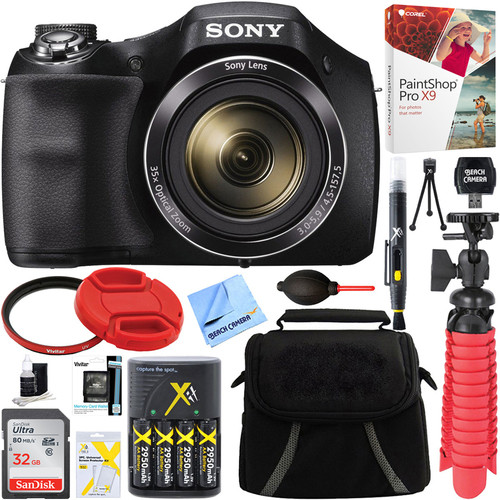 Sony Cyber-shot DSC-H300 Digital Camera + 32GB Memory Card, Battery & Accessory Kit
