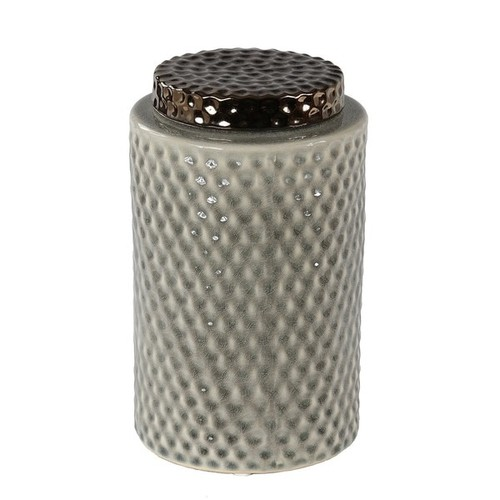 Privilege Grey Ceramic Large Lidded Vase