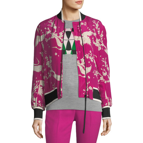 Zip-Front Silk Bomber Jacket