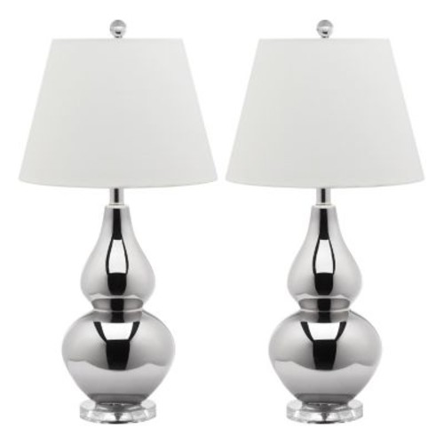 Cybil Double Gourd 1-light Silver Table Lamps (Set of 2)