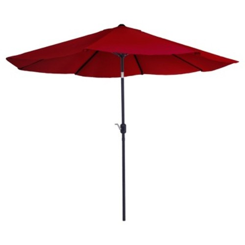 Pure Garden 10 ft. Aluminum Patio Umbrella with Auto Tilt in Red