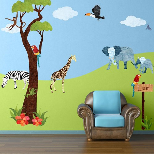 Safari Multi Peel and Stick Removable Wall Decals Jungle Theme Wall Mural (45-Piece Jumbo Set)