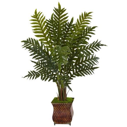 Nearly Natural Indoor Evergreen Plant in Metal Planter